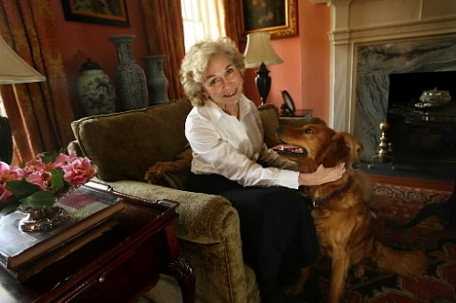 Pamela Tovey Quattlebaum & Bonnie at home in Charleston.